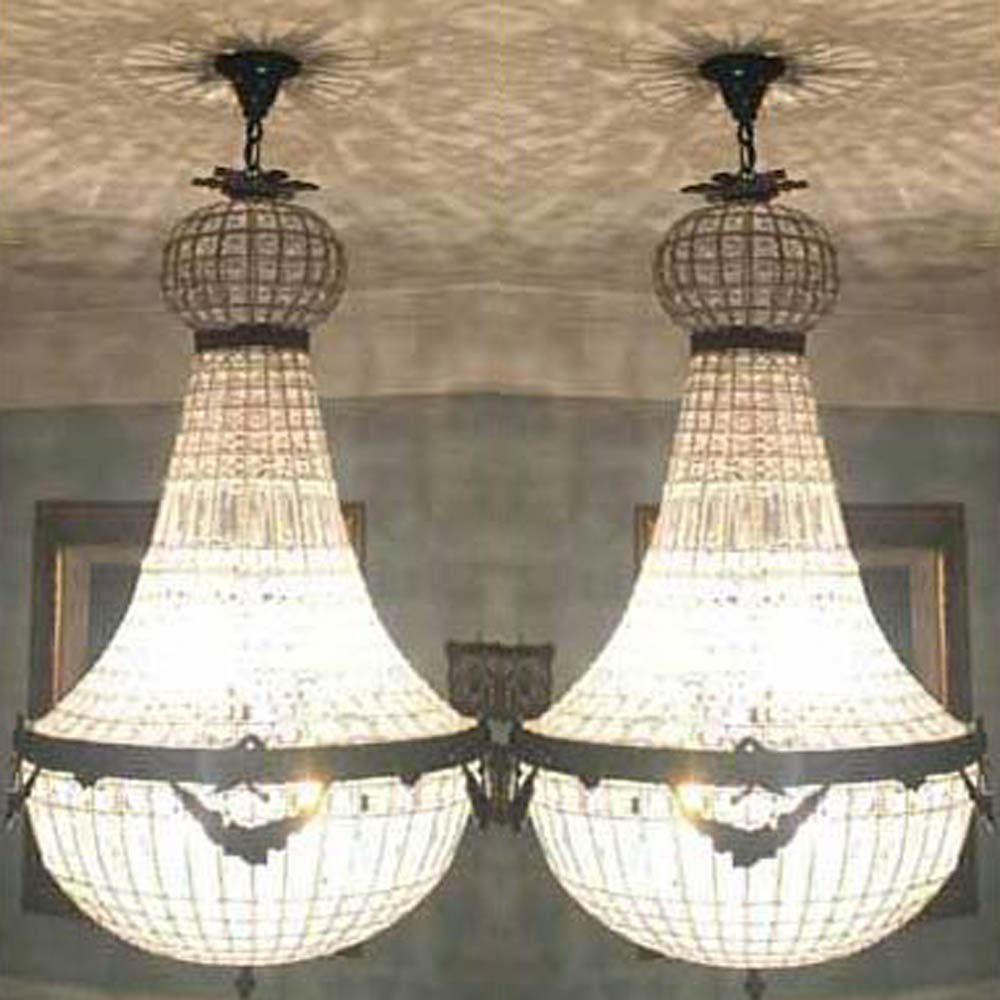 2 Grand Vintage French Empire Garland Acanthus Basket Crystal Chandeliers