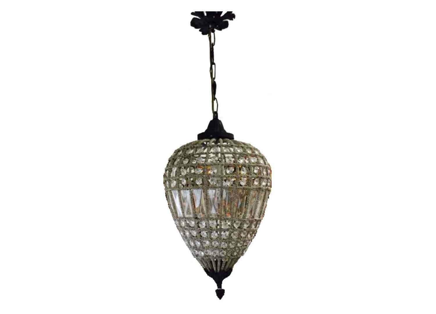 French Empire Bronze Strawberry Basket Crystal Ceiling Chandelier