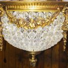 Hand Beaded Antique Replica Crystal Gilded Brass European Flush Mount Chandelier