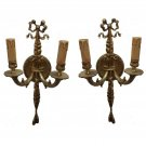 Pair Antique Replica Brass French Ornate Candle Holders Wall Sconces Lamps