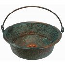Green Patina Oxidized Vessel Copper Bathroom Bucket Pan Sink House Remodel