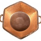 Hand Hammered Hexagon Pure Copper Gold Fruit Punch Handles bowl