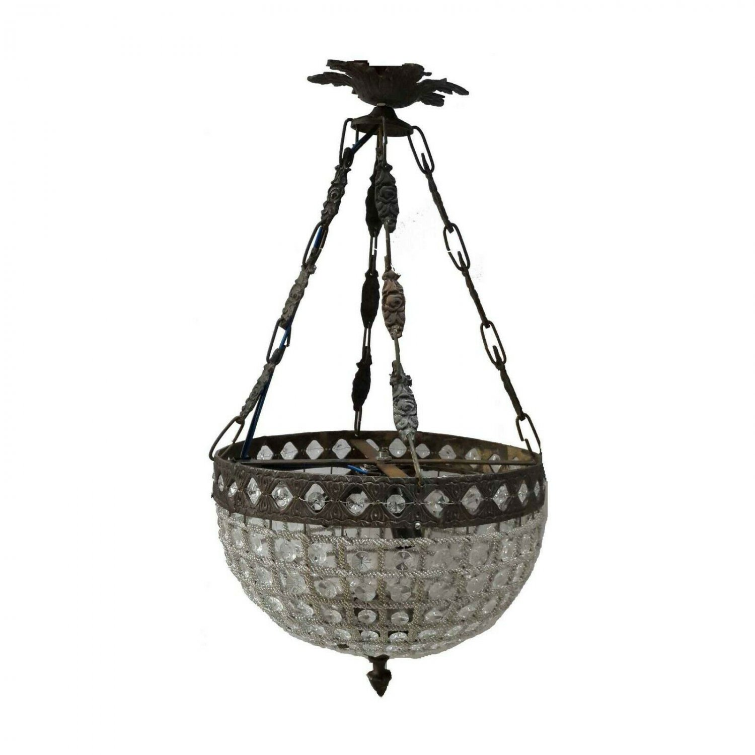 Hand Crafted Crystal Ornate Bronze Light Fixture Basket Ceiling Chandelier