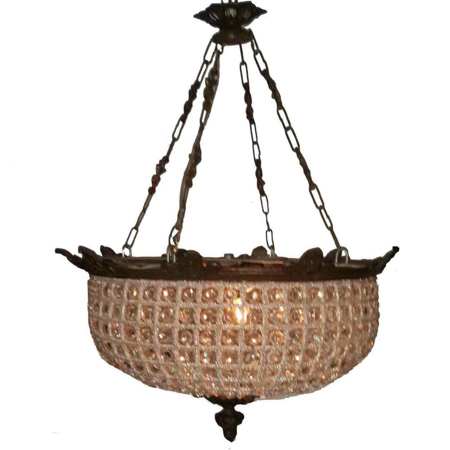 French Empire Chandelier Clear Crystal Bronze Light Basket Ceiling Light
