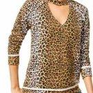 Selfie Juniors' Printed Cutout Sweatshirt, Leopard, Medium