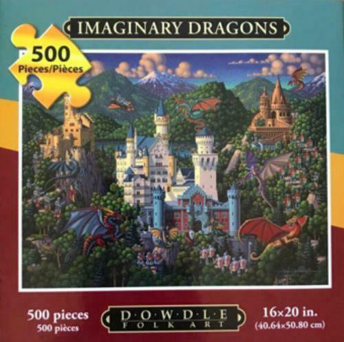 Dowdle Folk Art Imaginary Dragons 500 Pc Jigsaw Puzzle