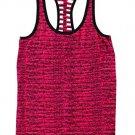 Material Girl Active Lattice-Back Tank Top, Pink/Black, Large