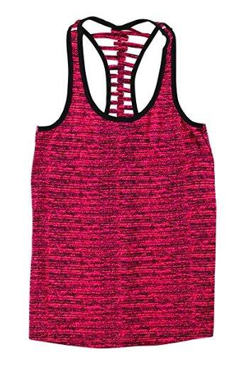 Material Girl Active Lattice-Back Tank Top, Pink/Black,  Small