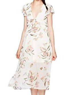 Love Fire Women's Tie Front Floral Print Maxi Dress, White, Medium