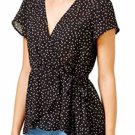 Lily Black Juniors' Polka-Dot Wrap Top, Black, Large