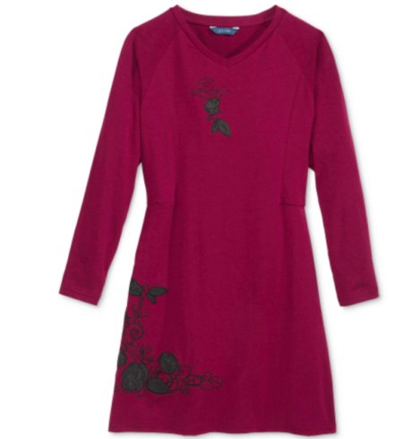 GUESS Big Girls' Jersey Knit Dress, Cranberry Passion, 14