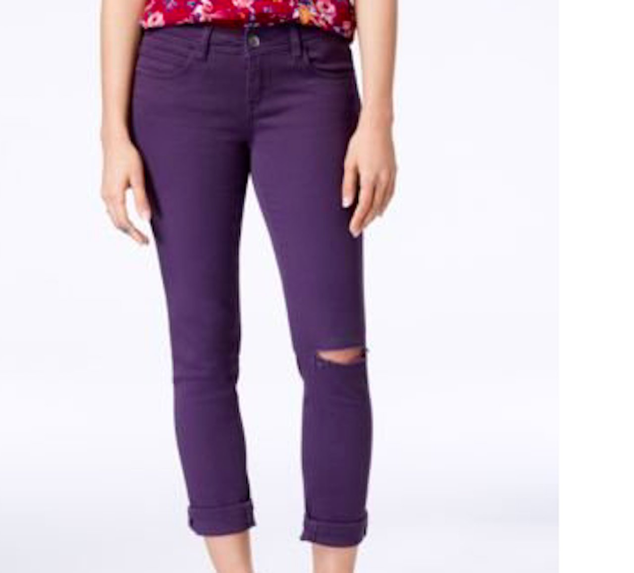 Dollhouse Women's Colored Ripped Cropped Jeans, Purple, Size 7