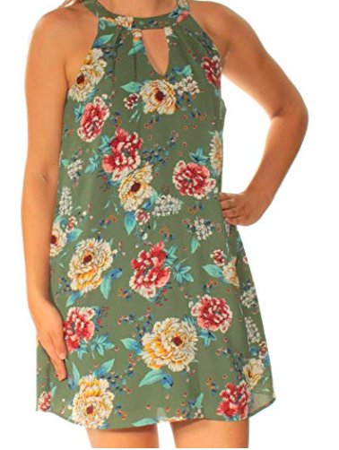 As U Wish Women's Printed Mock-Neck Shift Dress, Green, X-Small