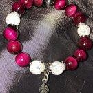 10mm Fuchsia/Red Tiger Eye Healing Stone Bracelet
