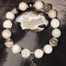 10mm Crazy Lace Agate/Silver Leaf Jasper Healing Stone Bracelet