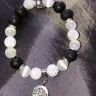 10mm White Cats Eye Healing Stone Diffuser Bracelet