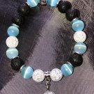 10mm Light Blue Cats Eye Healing Stone Diffuser Bracelet