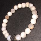 8mm Raw White Crazy Lace Agate & Bamboo Agate Healing Stone Bracelet