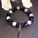 8mm Purple Tiger Eye & Eagle Eye Healing Stone Bracelet