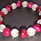 10/8mm Fuchsia/Red Tiger Eye & Frosted Quartz Healing Stone Bracelet