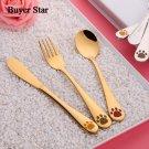 Kids Dinnerware Animal printing Cutlery 3 pcs (Message Color)