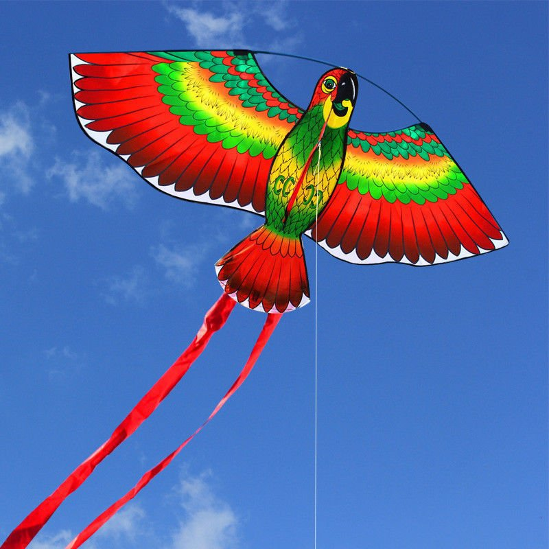 Red Parrots Kite Single Line Breeze Outdoor Flying Coolest Toy