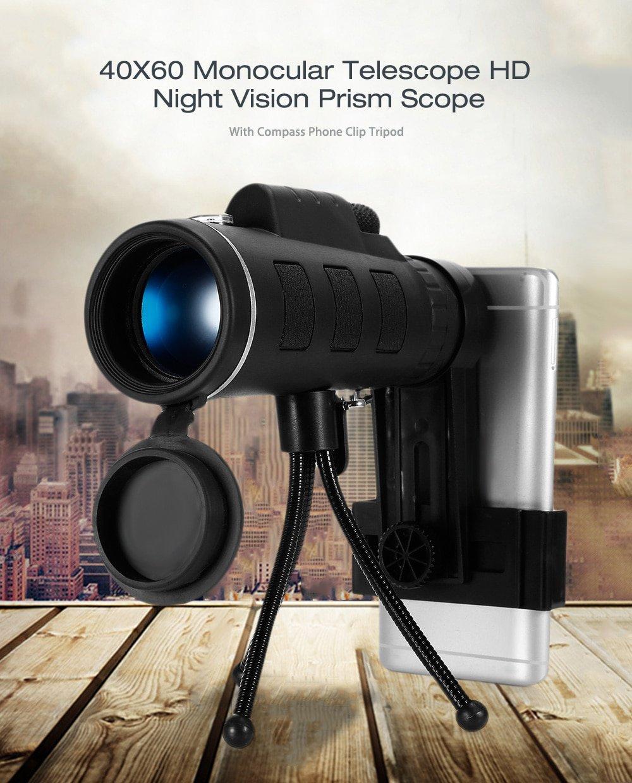 Monocular Zoom Mobile Telescope HD Night Vision BAK4  40X60