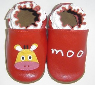 new soft sole baby leather shoes COW MOO (6-12 mo)