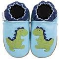 new soft sole baby leather shoes DINO blue (0-6 mo)
