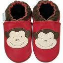 new soft sole baby leather shoes MONKEY red (0-6 mo)