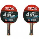 Stag 4 Star Table Tennis Racquet (Multicolor) - Set of 2 Racquets