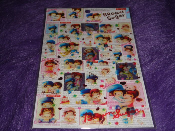 "Q-Lia Brown Sugar Friends ""Glass"" Sticker Sheet Kawaii"