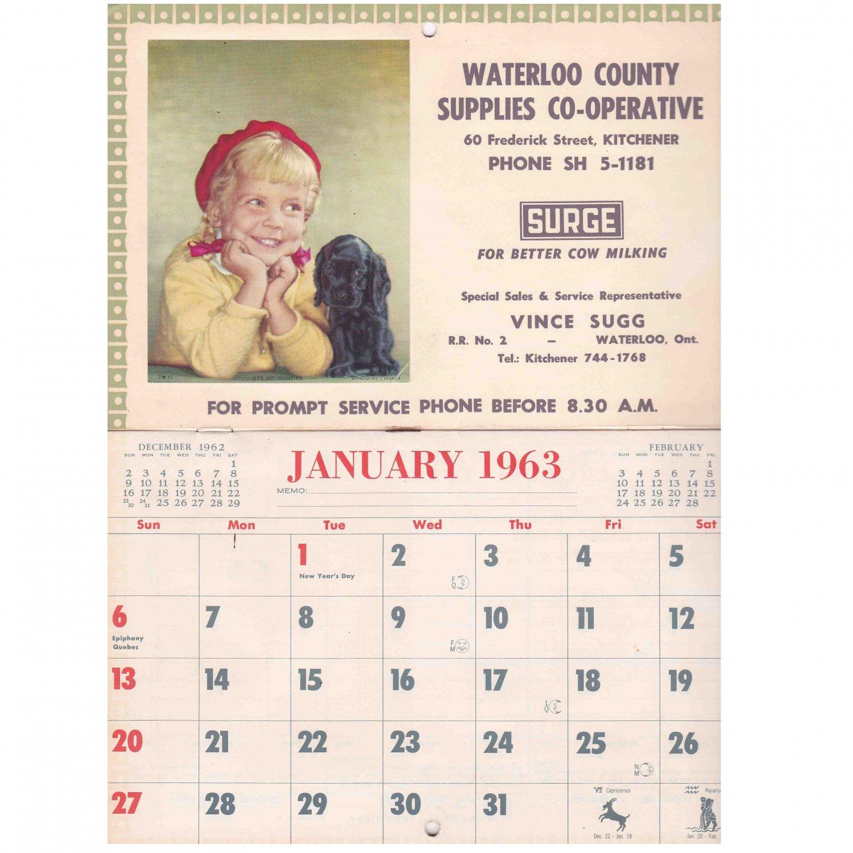 Waterloo Ontario Co-Op 1963 Vintage Calendar