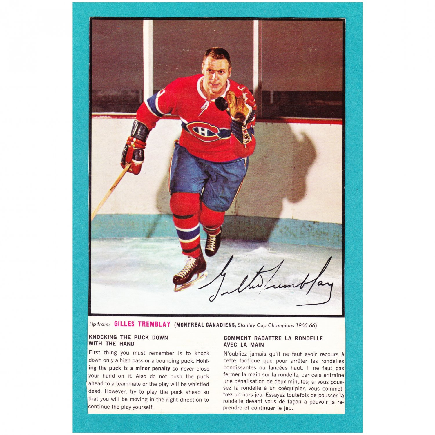 1966-67 General Mills Gilles Tremblay Action Photo