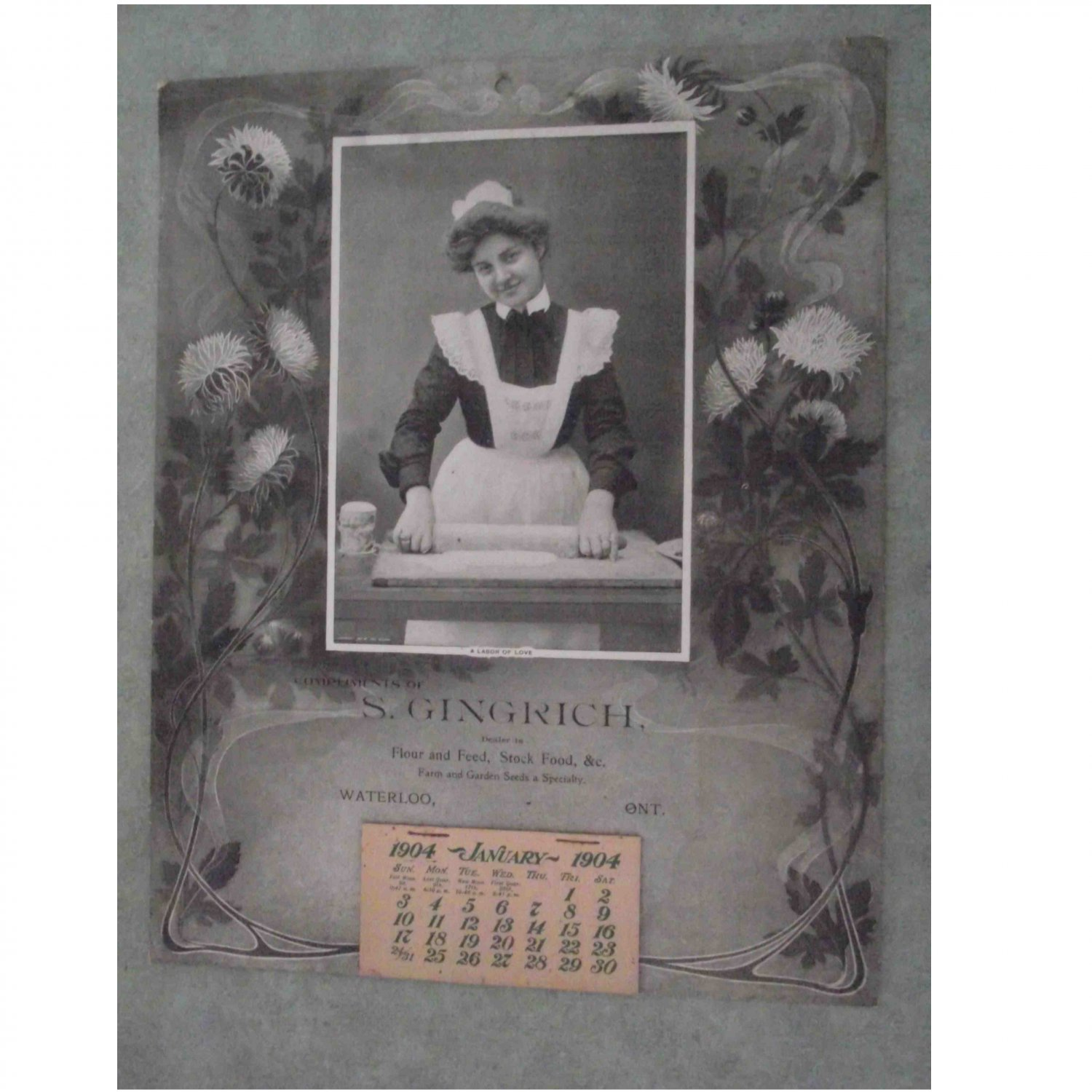 S. Gingerich Waterloo Ontario 1904 Antique Calendar