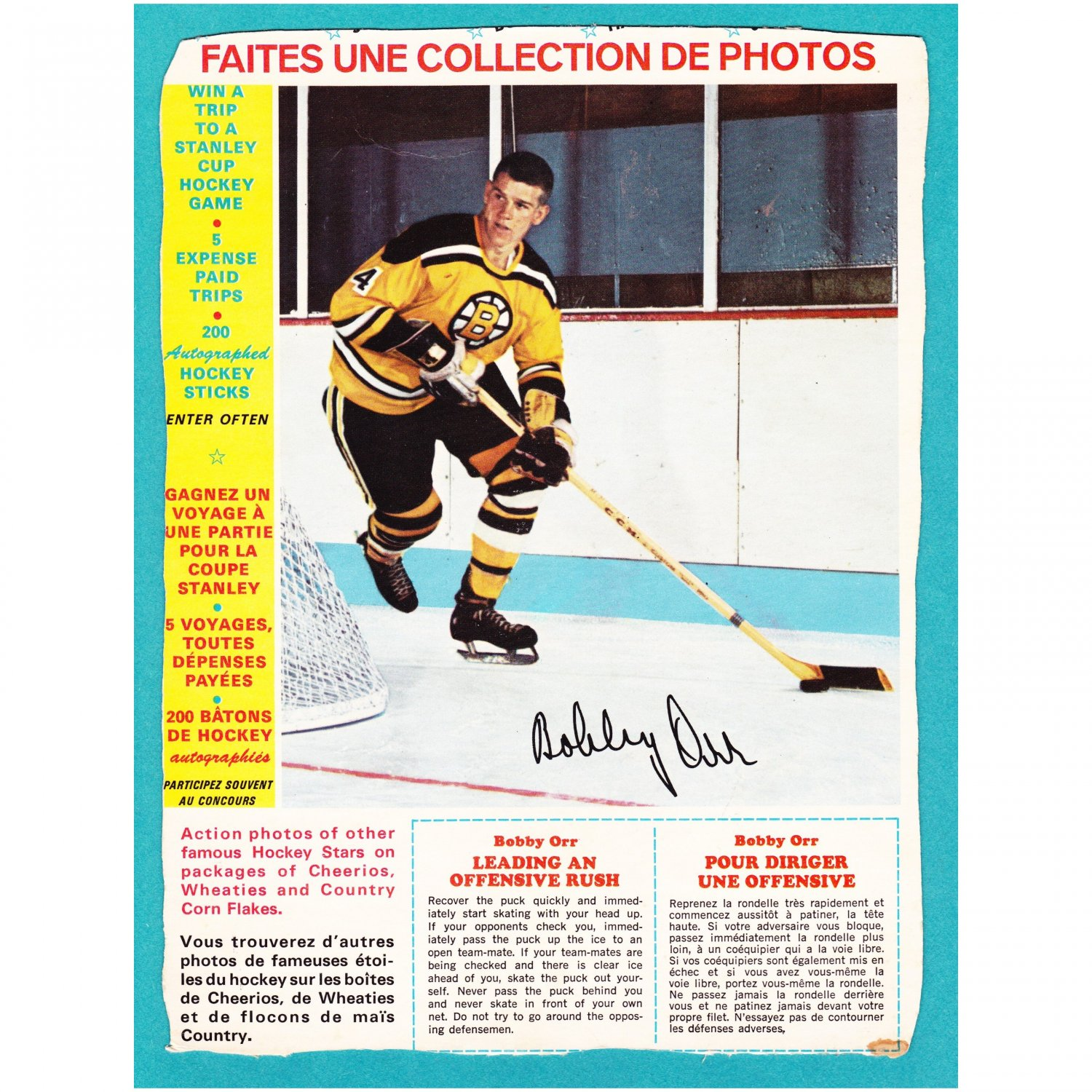 """1967-68 General Mills Bobby Orr """"Leading An Offensive Rush"""""""