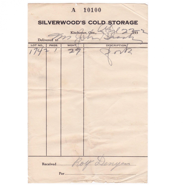 Silverwood's Dairy Cold Storage Kitchener Ontario 1932 Receipt