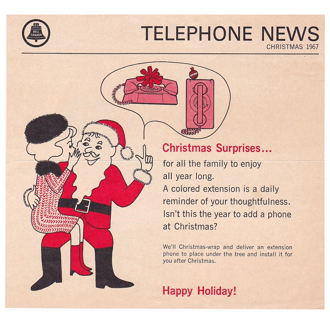 Vintage Bell Canada Telephone News Christmas 1967 Advertising