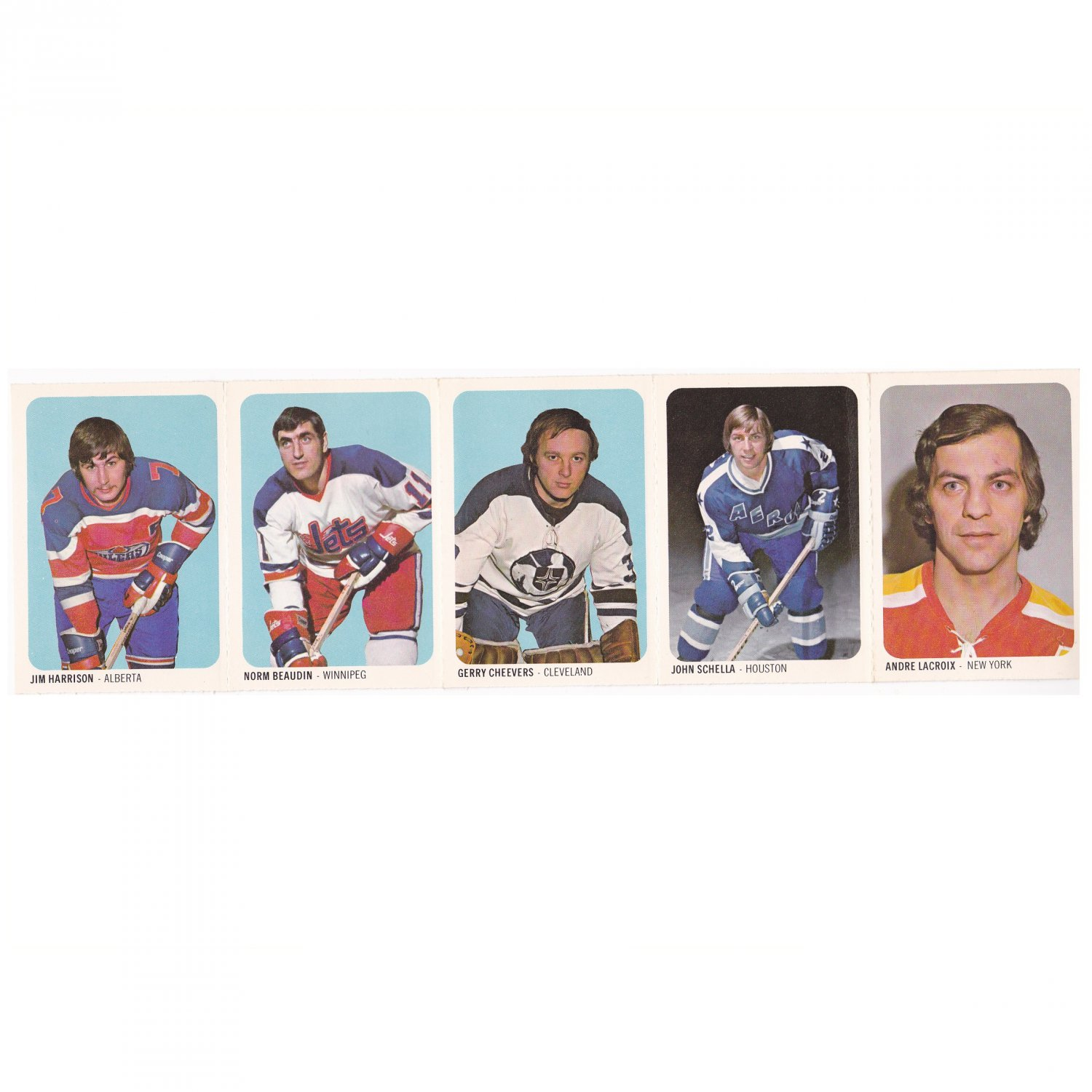 1973-74 WHA QUAKER OATS UNCUT SHEET 5 Hockey Cards 6-10