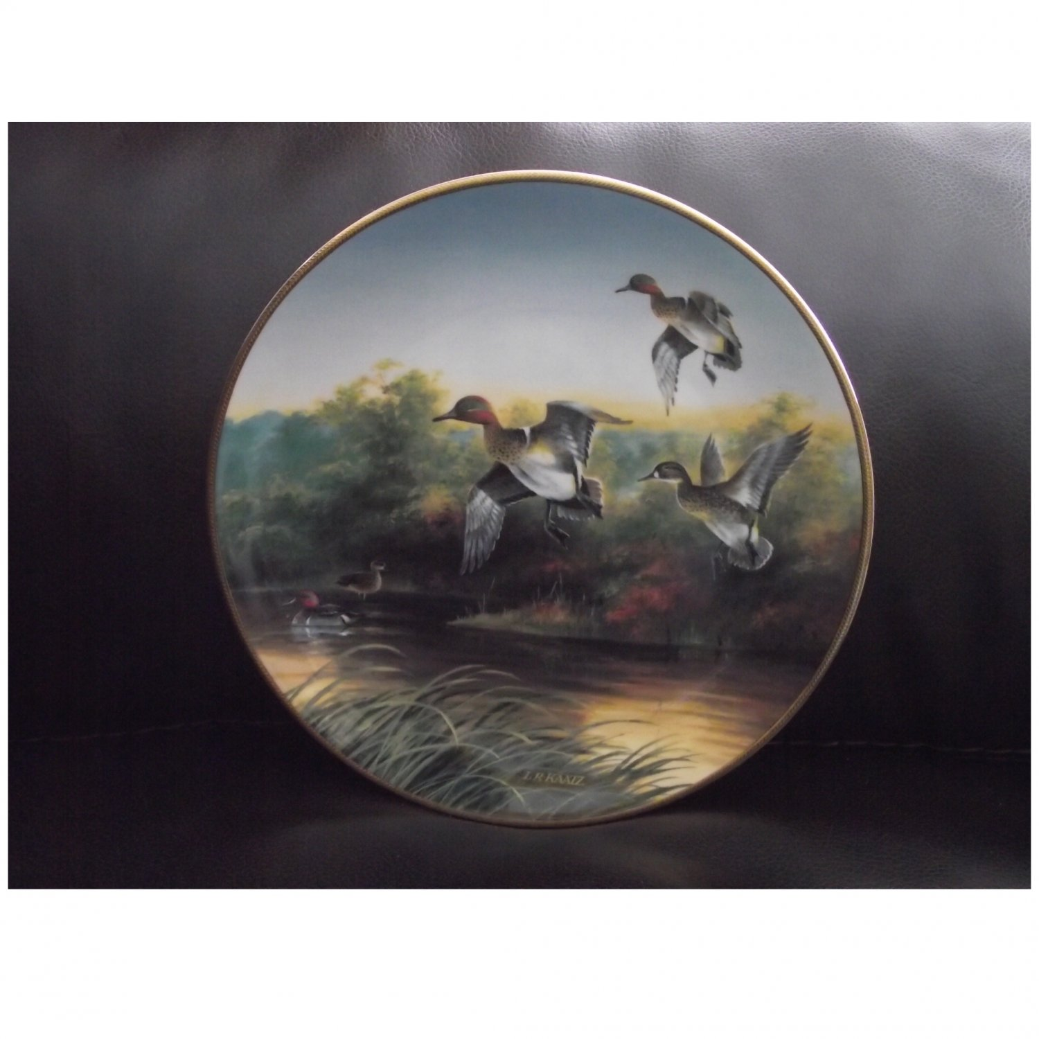 """Bradex Collectors Plate """"Green-Wings at the Morning Marsh"""" 1989"""