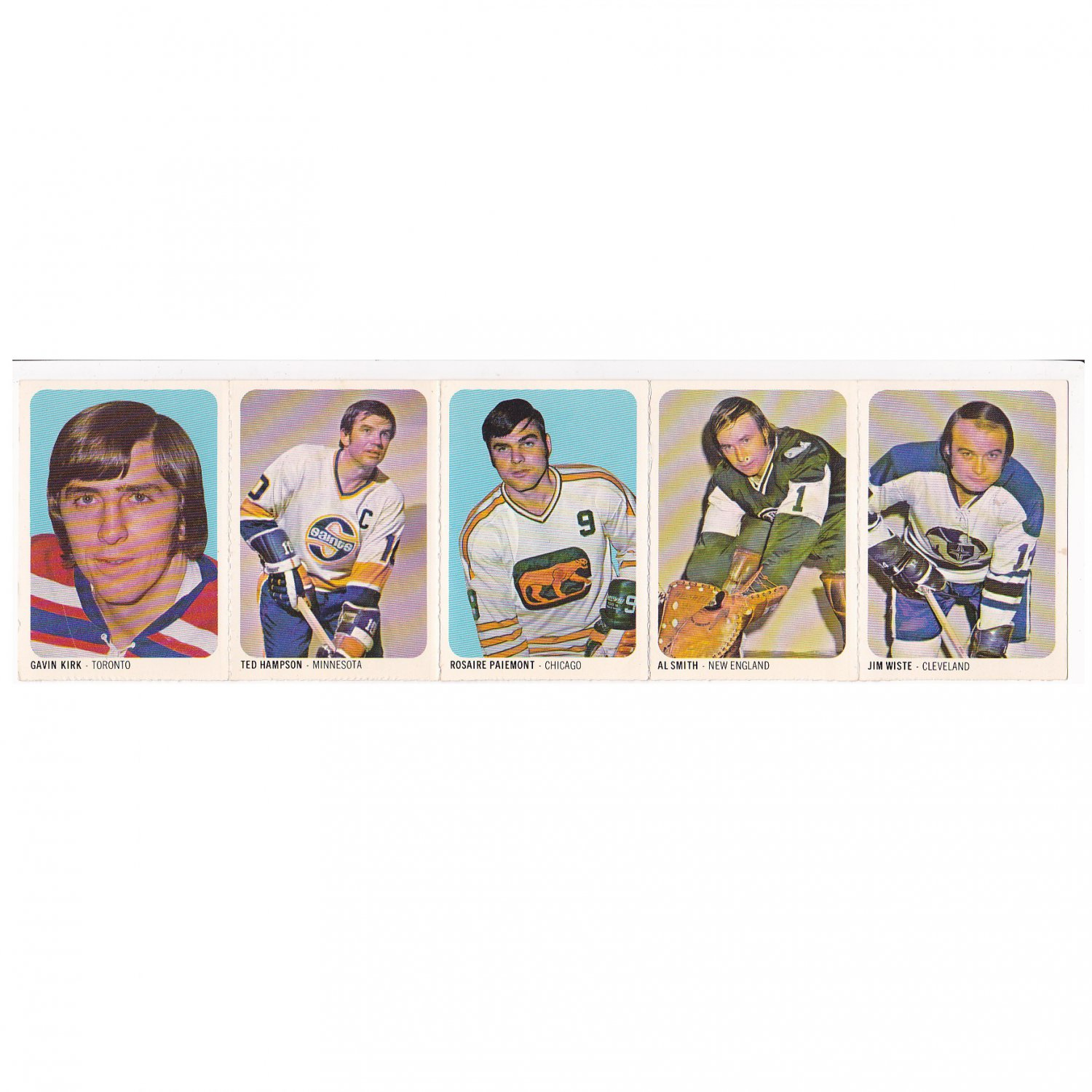 QUAKER OATS WHA 1973-74 UNCUT SHEET OF 5 HOCKEY CARDS 1 - 5