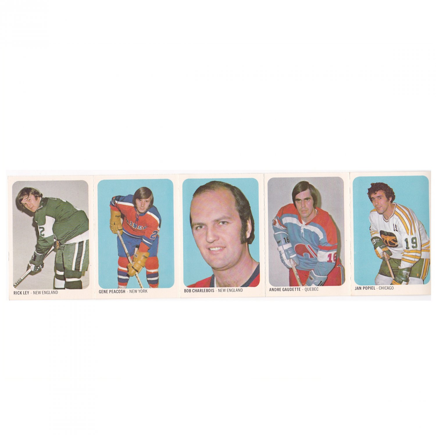 WHA QUAKER OATS 1973-74 UNCUT PANEL 5 Hockey Cards #21-25