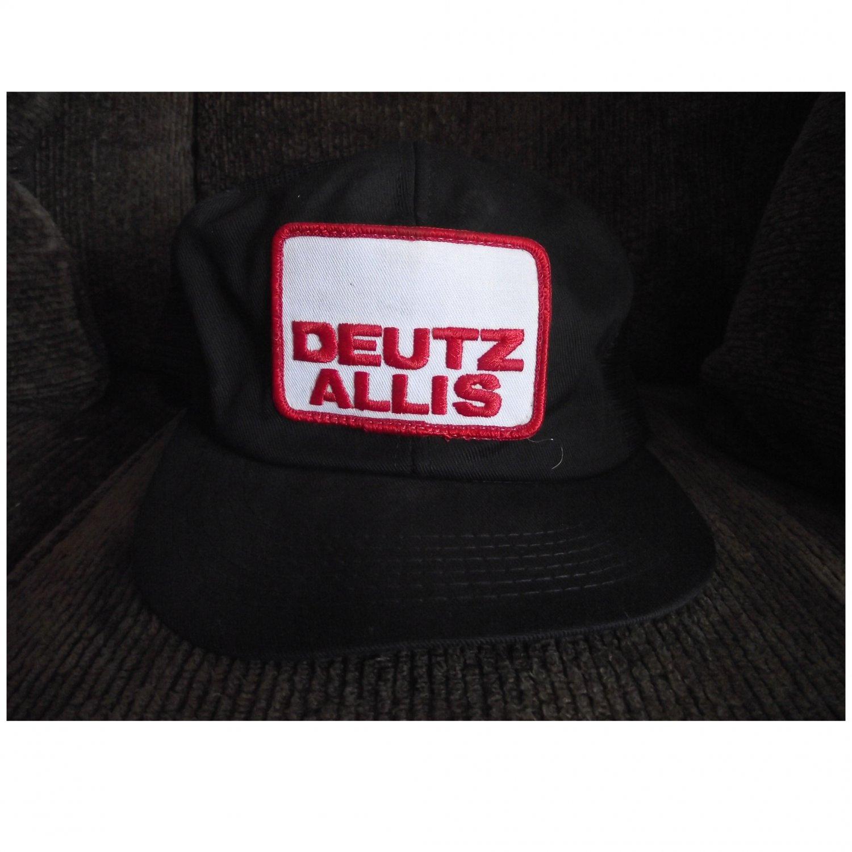 Vintage Black Adjustable Deutz Allis Trucker Baseball Hat Cap