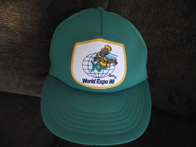 Vintage Green Adjustable World Expo 88 Trucker Baseball Hat Cap