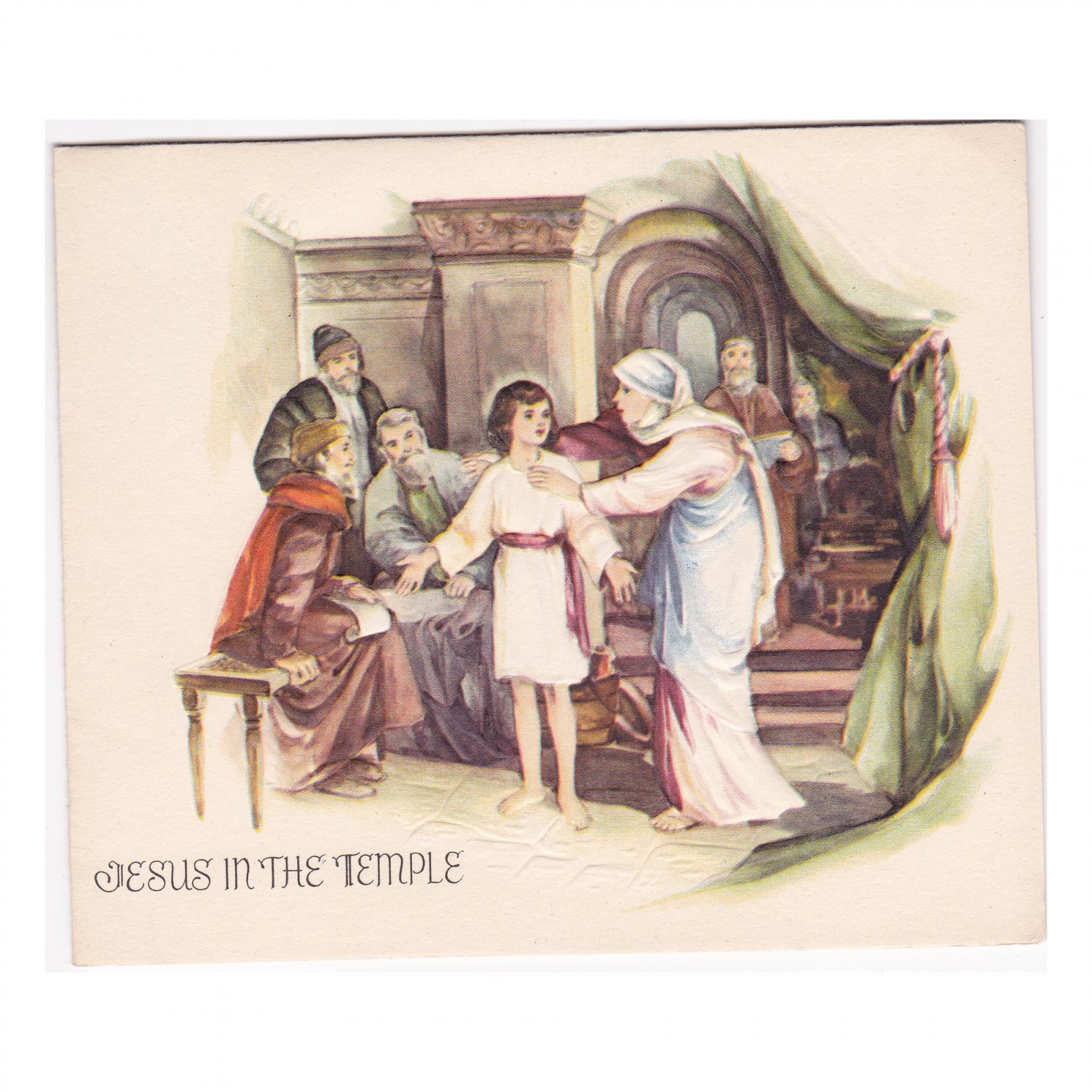 """Vintage """"Jesus in the Temple"""" Christmas Picture Greeting Card"""