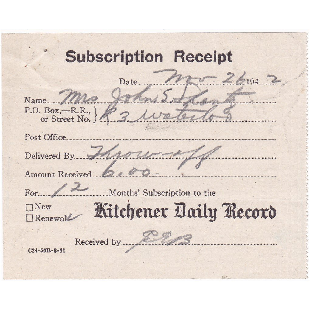 The Kitchener Record: VINTAGE 1942 KITCHENER DAILY RECORD WORLD WAR 2