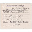 VINTAGE 1942 KITCHENER DAILY RECORD WORLD WAR 2 SUBSCRIPTION RECEIPT