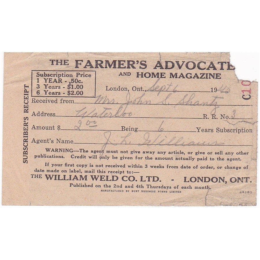 VINTAGE 1940 FARMER'S ADVOCATE & HOME MAGAZINE WORLD WAR 2 RECEIPT