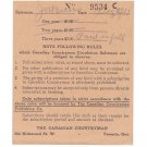 VINTAGE 1937 CANADIAN COUNTRYMAN TORONTO SUBSCRIPTION RECEIPT