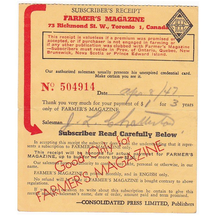 VINTAGE 1947 FARMER'S MAGAZINE TORONTO CANADA SUBSCRIPTION RECEIPT